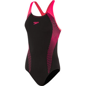 speedo Placement Laneback Badpak Dames, hex black/psycho red